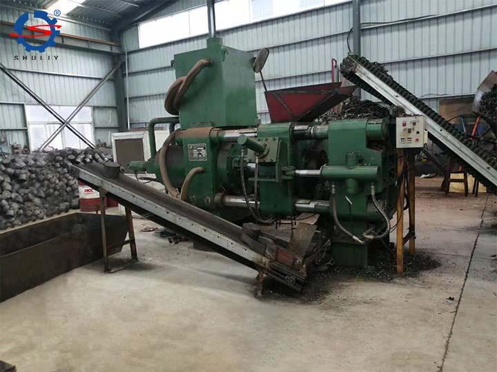 Horizontal metal briquetting machine