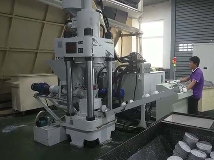 working of the metal briquetting machine