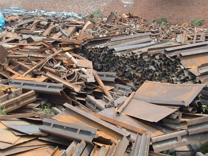scrap metal cut by the metal baler